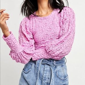 New Free People Pink Tea Time lace top
